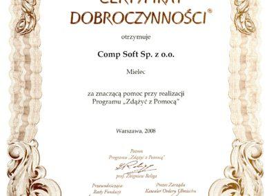 Certyfikat Dobroczynności F Zdążyć z Pomocą 2008
