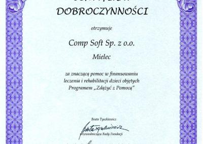 Certyfikat Dobroczynności F Zdążyć z Pomocą 2009-05