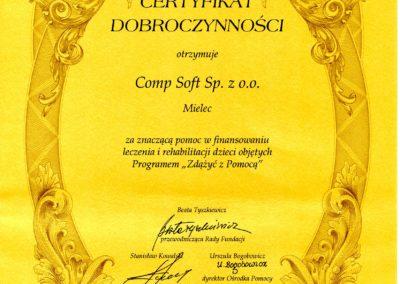 Certyfikat Dobroczynności F Zdążyć z Pomocą 2009-08