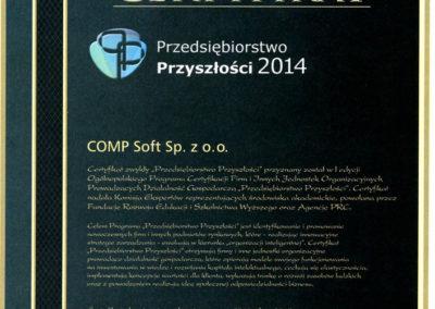 Certyfikat Przedsiębiorstwo Przyszłości 2014