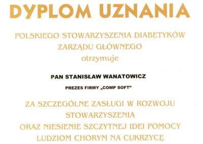 Dyplom Uznania Polskie Stowarzyszenie Diabetyków 2015
